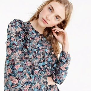 J. Crew Ruffle Front Paisley Floral Loose Fit Top
